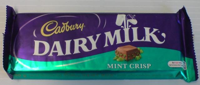 Der Reisende brachte Cadbury Mint Crisp mit...